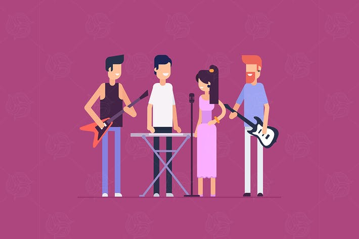 Thumbnail for Musical band - flat design style illustration