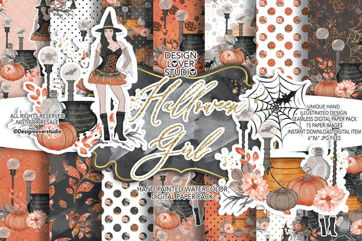 Thumbnail for Halloween Girl digital paper pack