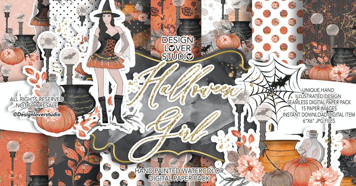 Download Halloween Girl digital paper pack by designloverstudio
