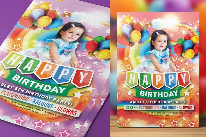 Thumbnail for Rainbow Kids Birthday Party Invitation