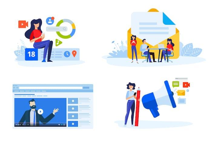Flache Designkonzepte des digitalen Marketings