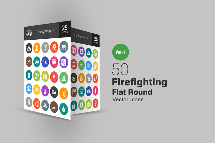 Thumbnail for 50 Firefighting Flat Round Icons
