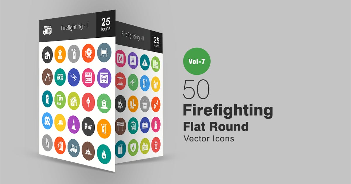 Download 50 Firefighting Flat Round Icons by IconBunny