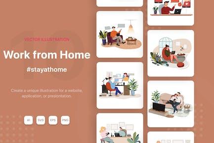 Ilustraciones Vector de trabajo desde casa