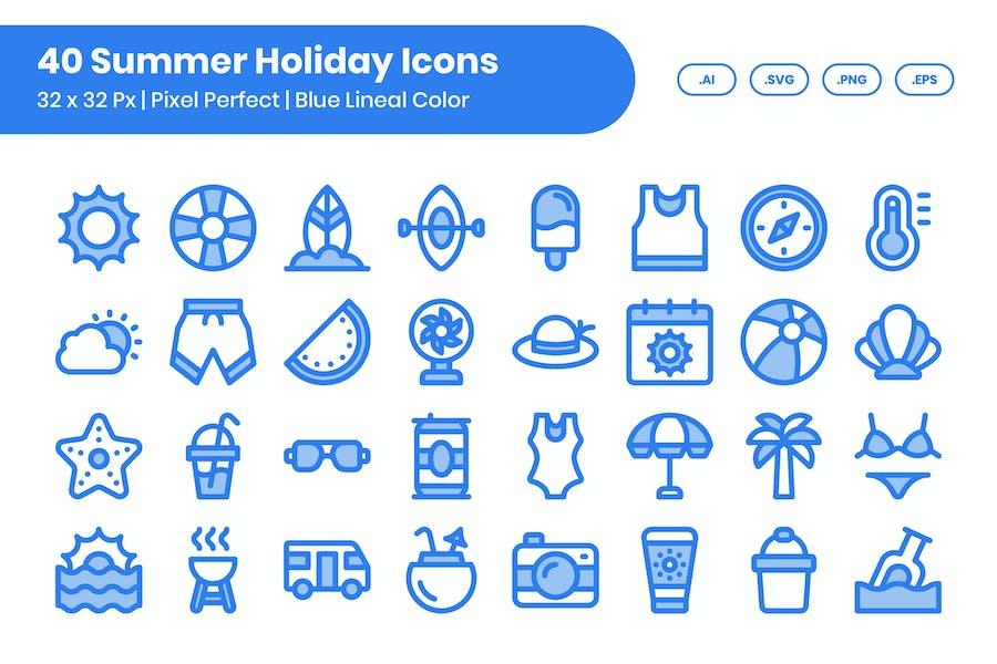 Juego de 40 Íconos de vacaciones de verano, color azul lineal
