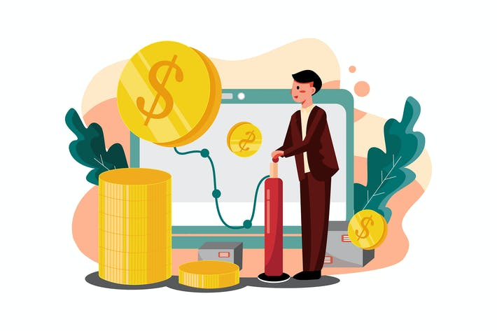 Thumbnail for Businessman blowing profit Illustration