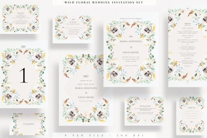 Thumbnail for Coffret d'invitation de mariage floral sauvage EZ