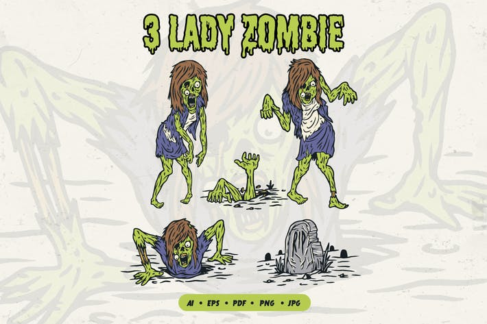 Thumbnail for Weibliche Zombie-Illustration