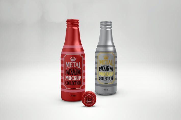 Thumbnail for 330ml Metal Drink Bottles Mockup