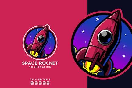 Rocket Spaceship Planet Logo