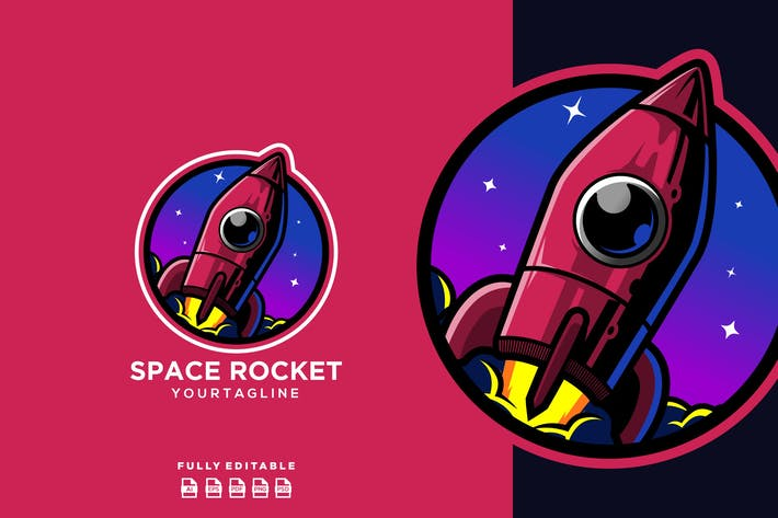 Thumbnail for Rocket Spaceship Planet Logo