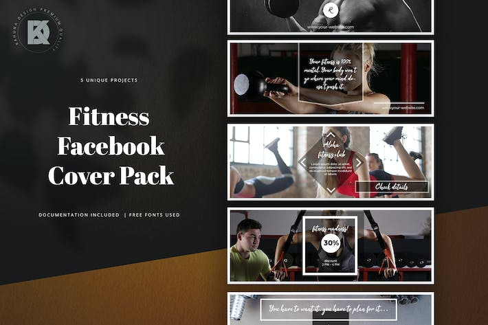 Thumbnail for Fitness Facebook Cover Pack
