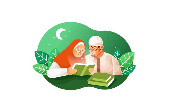 Thumbnail for Muslim couples read the Koran Vector Illustration
