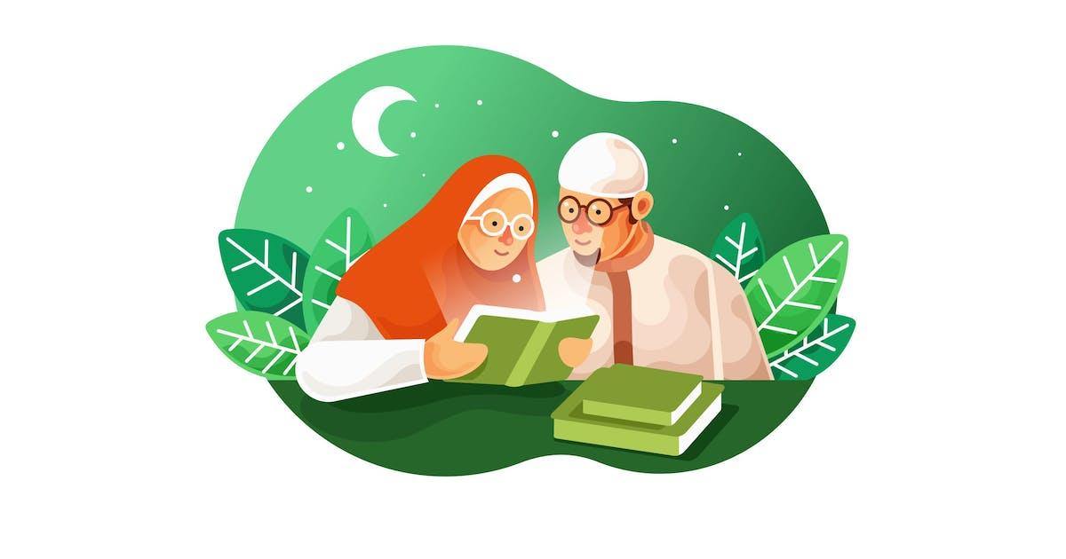 Download Muslim couples read the Koran Vector Illustration by IanMikraz
