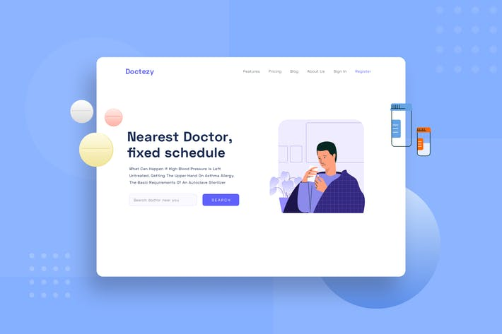 Illustration de la page de destination des médicaments