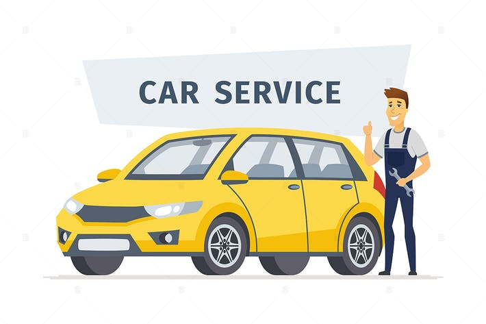 Thumbnail for Car service - cartoon character illustration