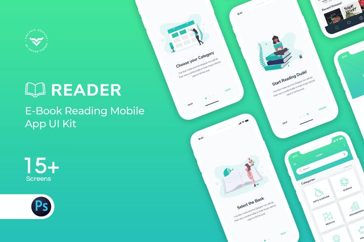 Thumbnail for E-Book Mobile App UI Kit