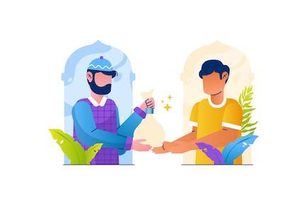 Musulmán Give Zakat Ilustración