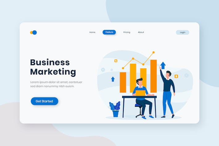 Thumbnail for Business Marketing Flat Concept Landing Page