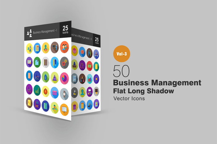 Thumbnail for 50 Business Management Flat Shadowed Icons