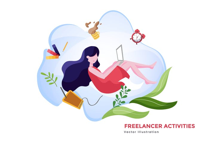 Thumbnail for Freelancer activities vector illustration