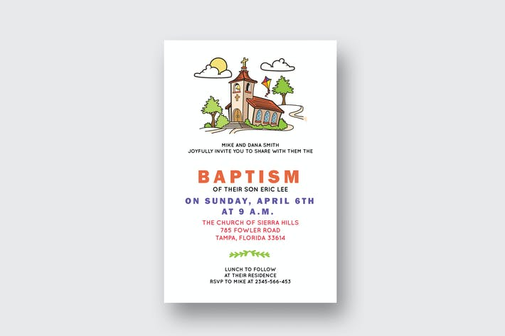 diy church baptism invitation card by squirrel92 on envato elements