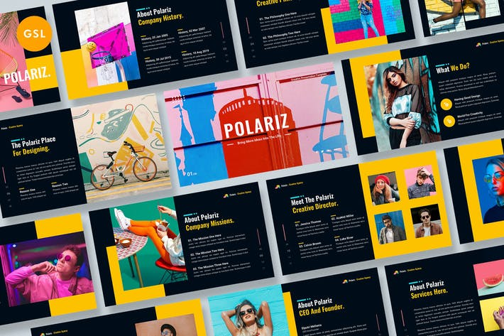 Thumbnail for Шаблон Creative Google слайды Polariz