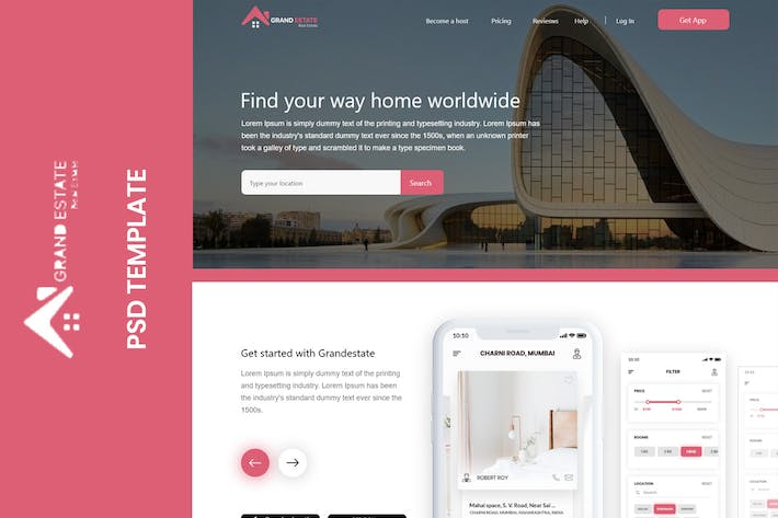 Cover Image For Grandestate - Real Estate Landing page
