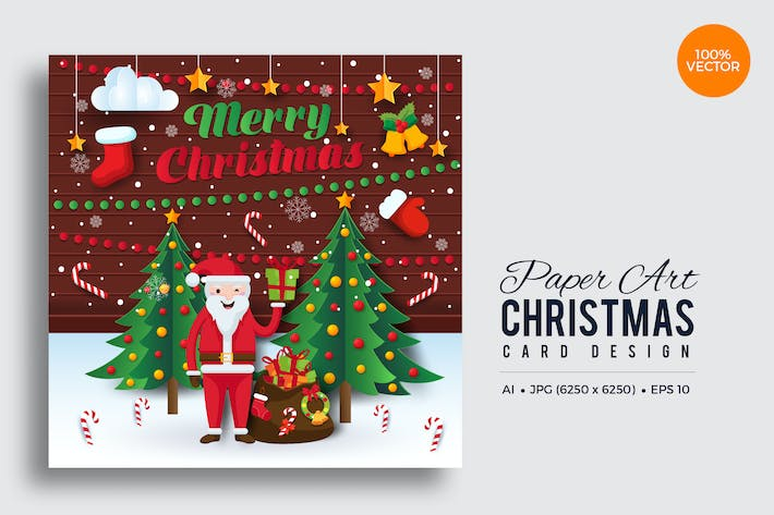 Cover Image For Merry Christmas Square Vector Card Vol.7