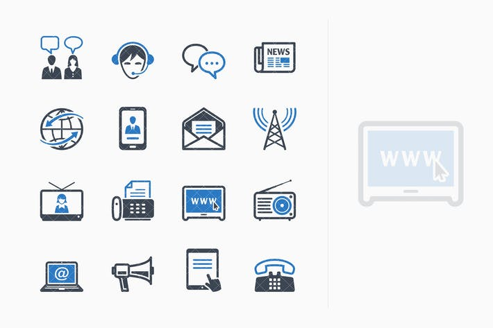 Cover Image For Communication Icons Set 2 - Blue Series