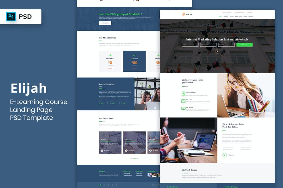 E-Learning Single Course Landing Page PSD Template - Design