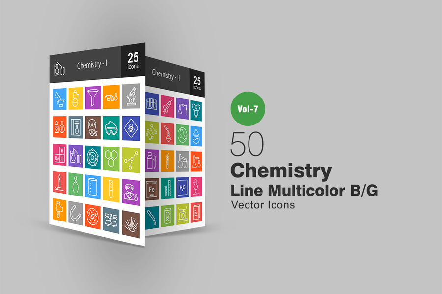50 Chemistry Line Multicolor B/G Icons