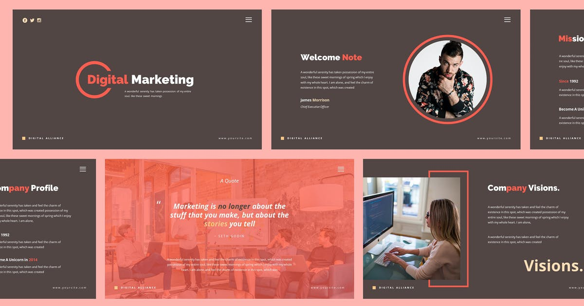 Digital Marketing Powerpoint Template By Giantdesign On Envato Elements
