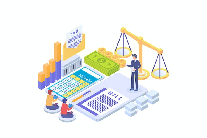 Thumbnail for Tax Payment Law Isometric Vector Illustration