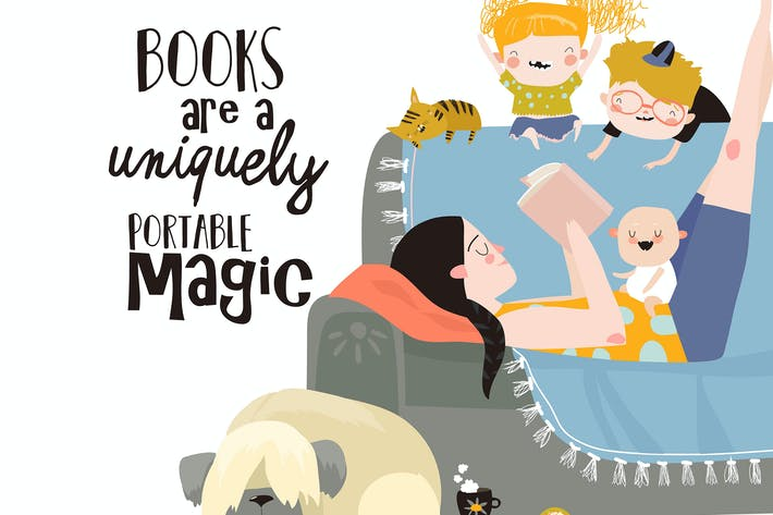 Thumbnail for Mother and her kids reading book on sofa. Vector