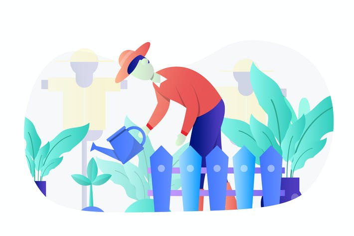 Thumbnail for Gardening Concept Flat Illustration