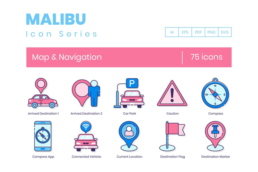 75 Map Icons & Navigation Icons