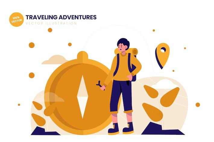 Traveling Adventures Flat Vector Illustration