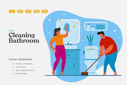 Cleaning Bathroom Flat Illustration