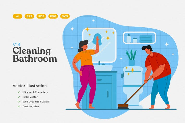 Thumbnail for Cleaning Bathroom Flat Illustration