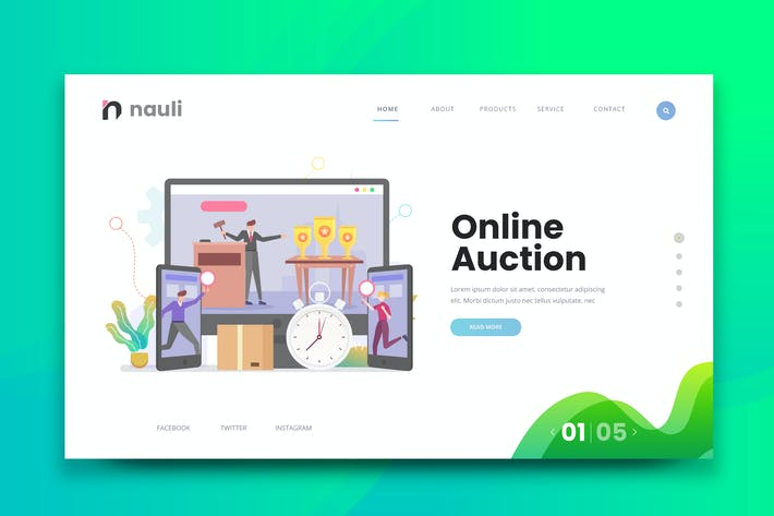 Online Auction Web Psd And Ai Vector Template By Naulicrea On Envato Elements