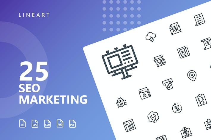Thumbnail for SEO Marketing Line Icons