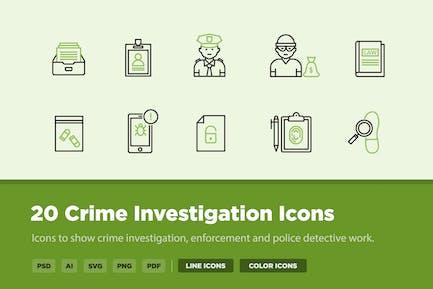 20 Crime Investigation Icons