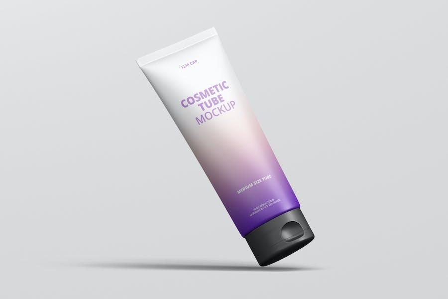 Cosmetic Tube Mockup with Flip Cap