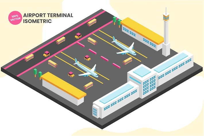 Thumbnail for Isometric Airport Terminal Vector Illustration