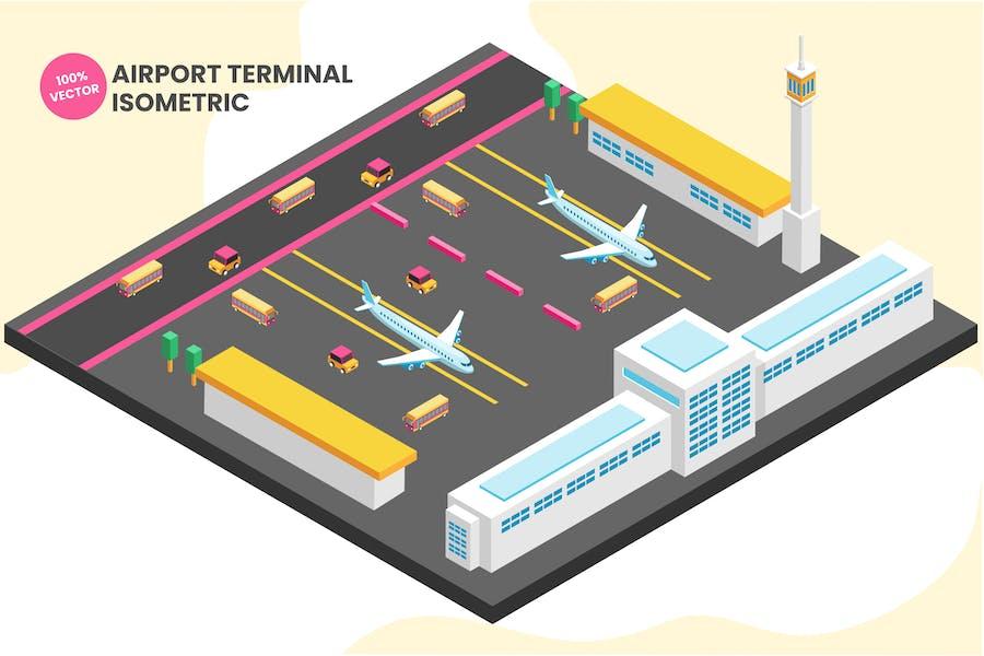 Isometric Airport Terminal Vector Illustration