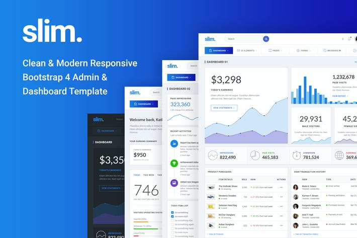Thumbnail for Slim Clean & Modern Bootstrap 4 Admin & Dashboard