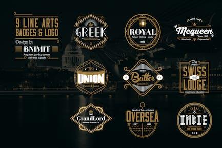 9 Line Arts Badges & Logo