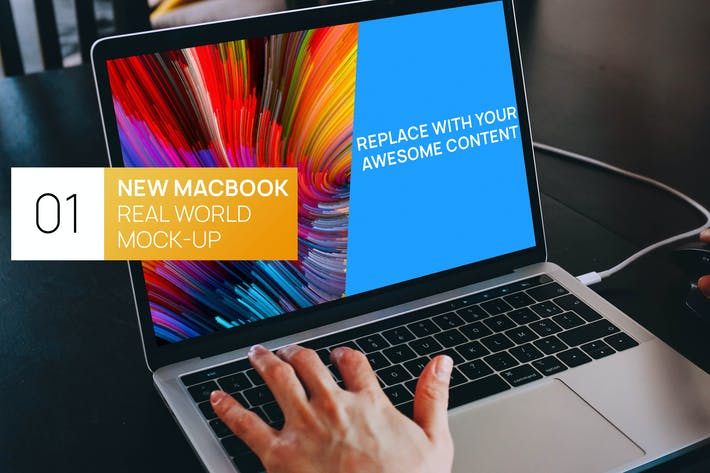 Thumbnail for Person using MacBook Touchbar Real World Mock-up