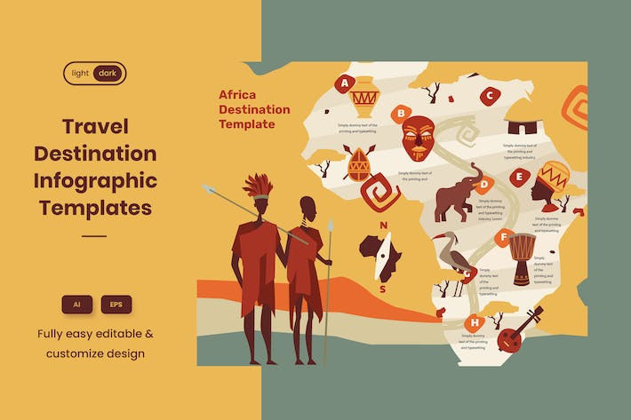 Travel Guide Infographic Template: Africa